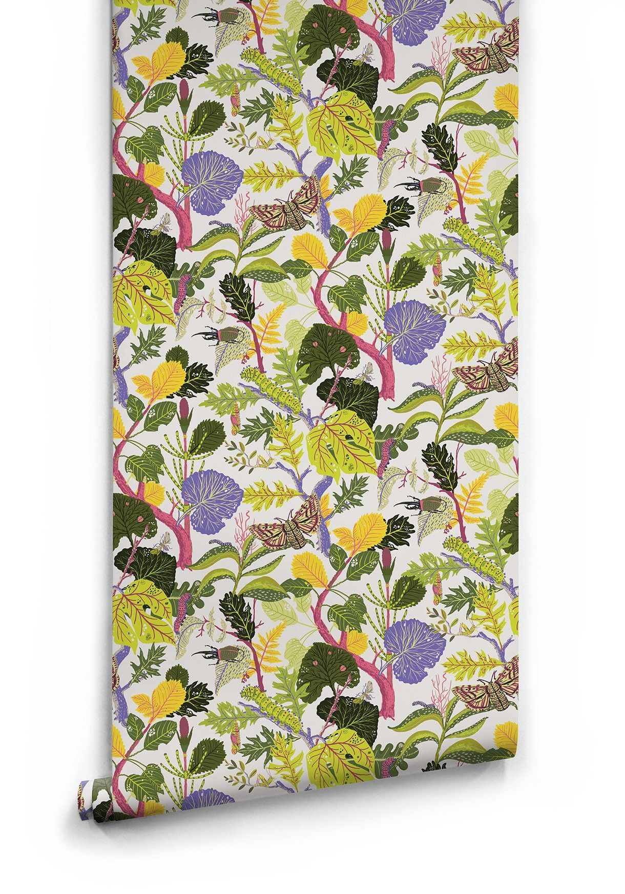 Caterpillar, Lively Botanical Wallpaper • Bold & Fun