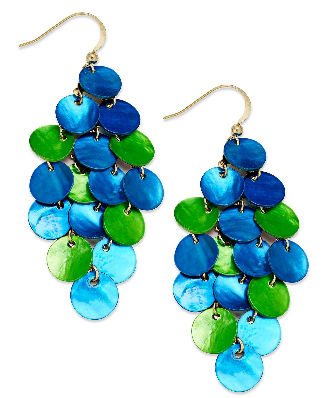 Style earrings gold tone blue and green disc chandelier earrings earrings gold tone blue and green disc chandelier earrings fashion earrings macys arubaitofo Choice Image