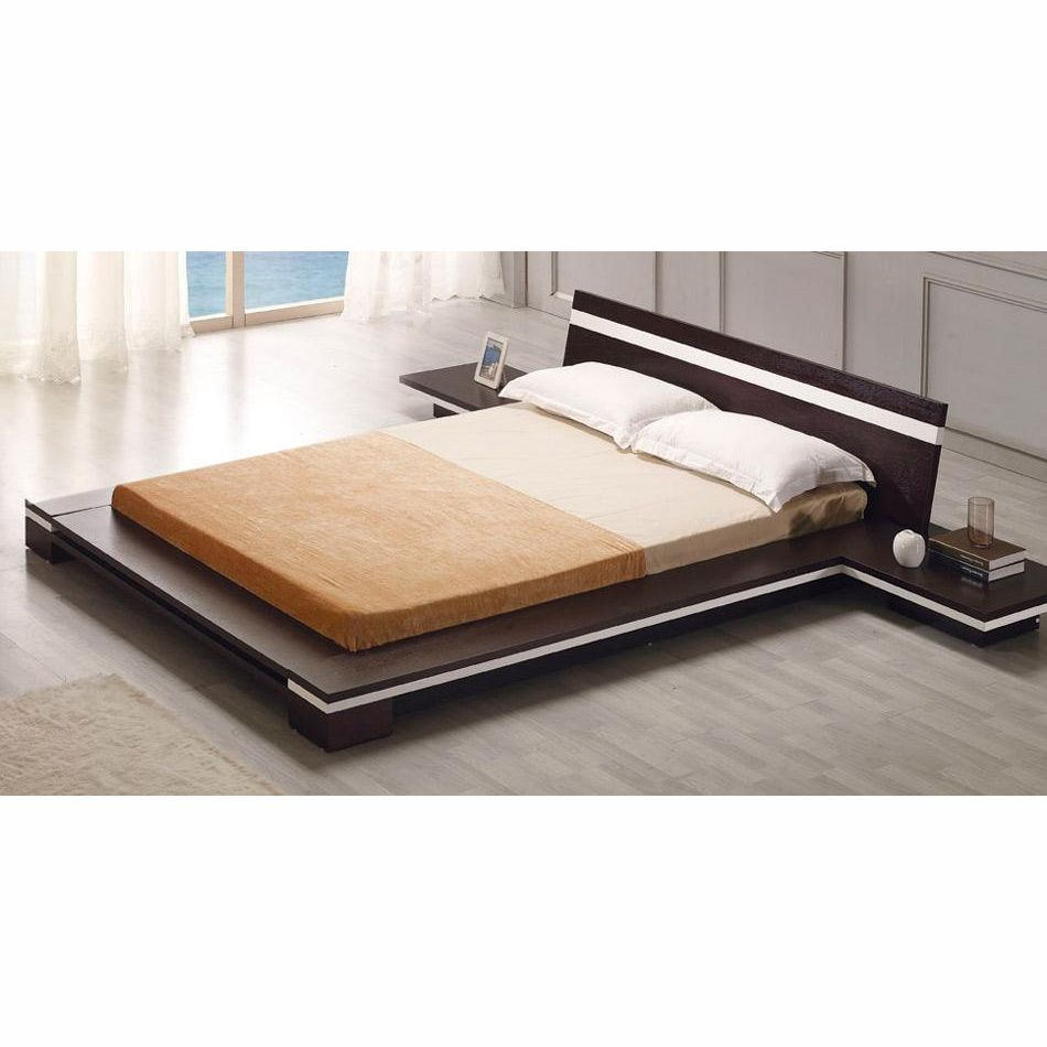 Very Modern Low Profile Bed In Your Choice Of Two Toned Finish