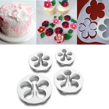 4Pcs Flower Sugarcraft Decorating Plunger Paste Cookie Cake Cutter Mold Tool New