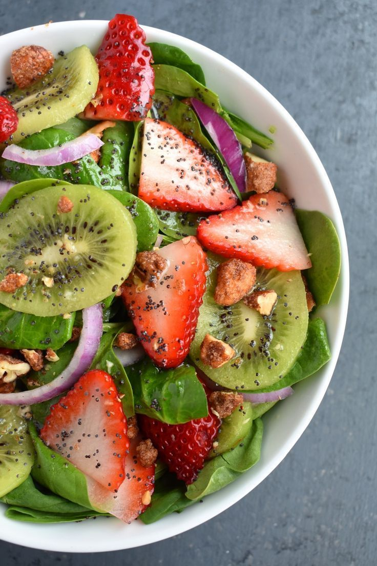 Strawberry Kiwi Spinach Salad with Poppy Seed Dressing