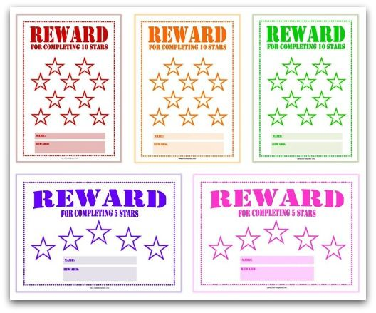 Printable Reward Charts for Kids behavior systems Pinterest - child reward chart template