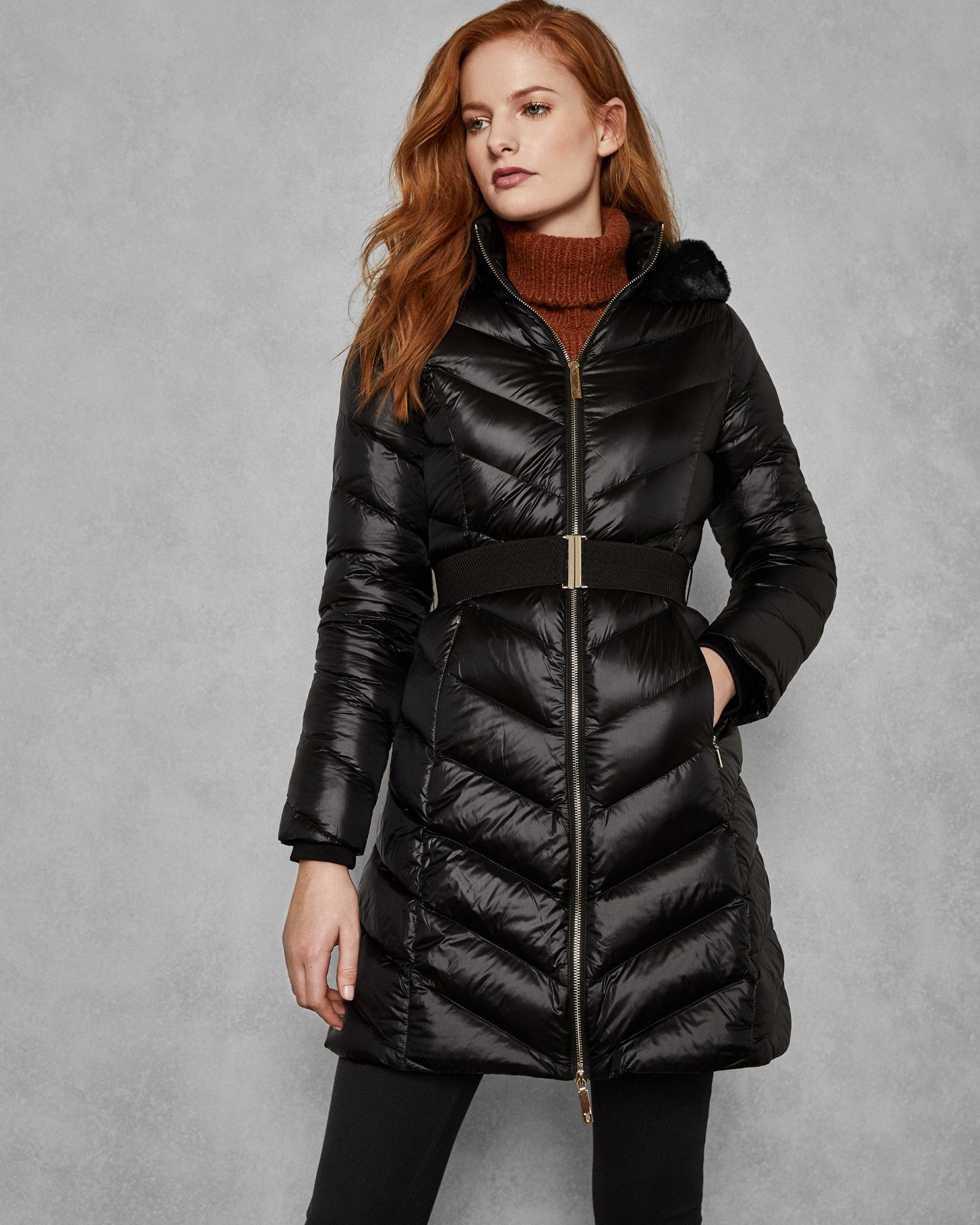 e42328a93 Chevron Long Quilted Jacket | Products in 2019 | Quilted jacket ...