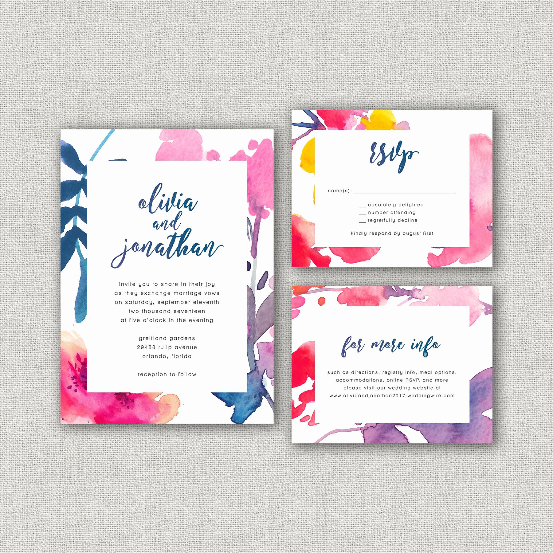 Watercolor Calligraphy Wedding Invitation Suite - Bright floral ...