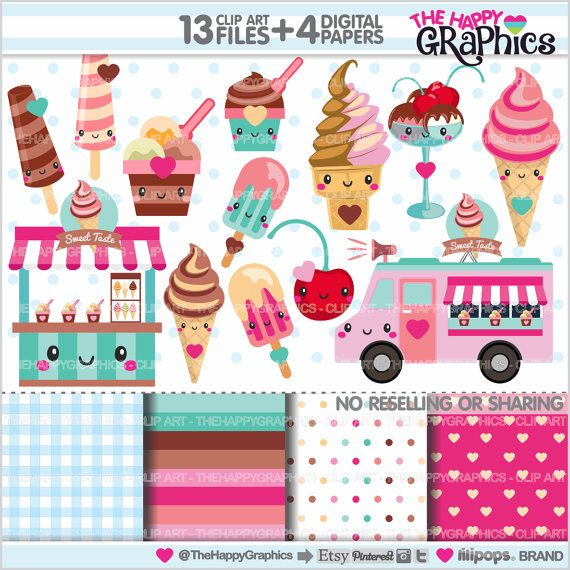 Ice Cream Clipart, Ice Cream Graphics, COMMERCIAL USE, Kawaii ...
