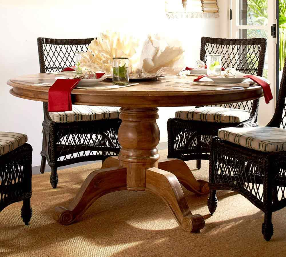 Round table wicker chairs