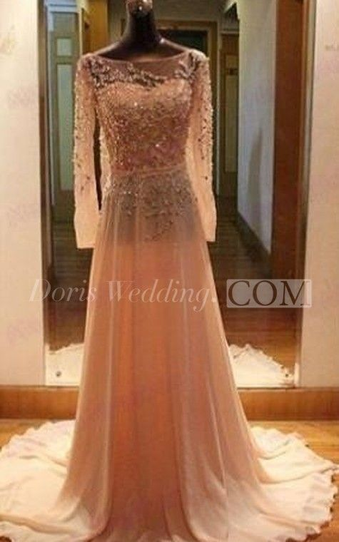 Gorgeous Long Sleeves Beadings Prom Dress 2018 Chiffon Long Party