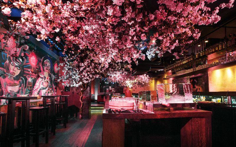 Cherry Blossom Season In London London On The Inside Japanese Restaurant Interior Japanese Cherry Blossom Basement Bar Designs