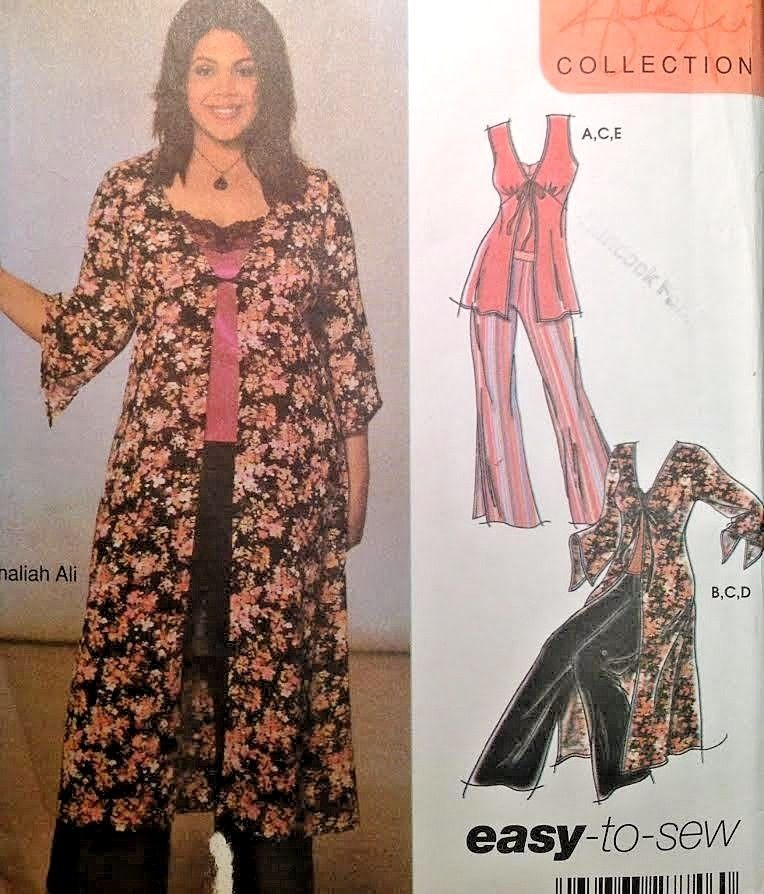 f31df0293 UC Simplicity 5075 Sew Pattern Easy Khaliah Ali Kimono Jacket Duster Pants  Top