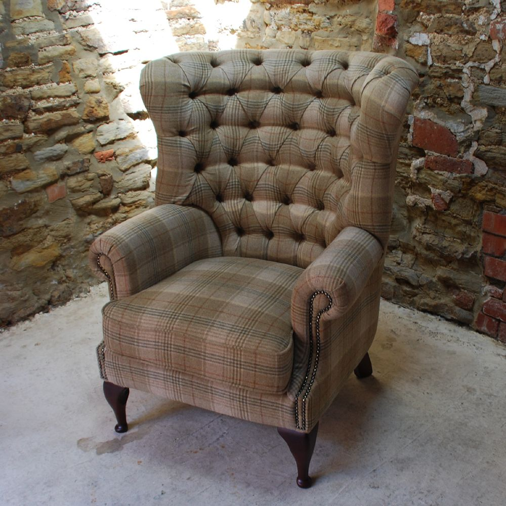 Tartan Chesterfield Sofa Pink Patchwork Dfs Tudor 100 Wool Tweed Button Back Armchair In Fabrics At Curiosity Interiors