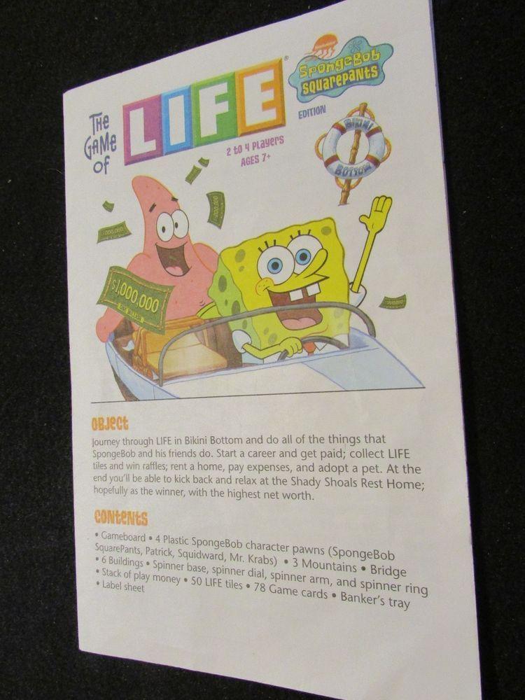 2005 The Game Of Life Spongebob Squarepants Edition
