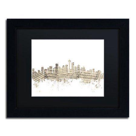 Trademark Fine Art Seattle Skyline Sheet Music II Canvas Art by Michael Tompsett Black Matte, Black Frame, Size: 16 x 20
