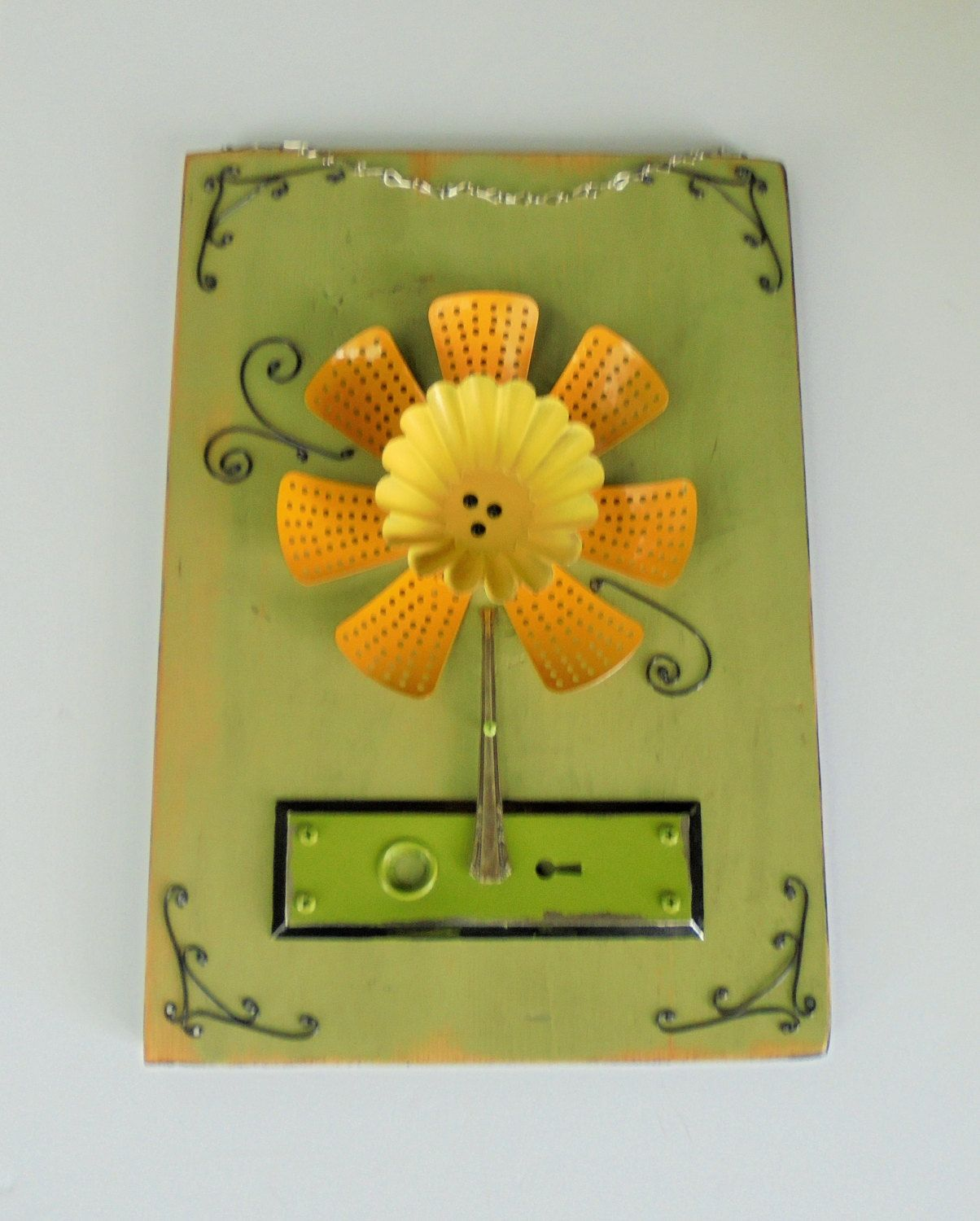 found object flower assemblage 5-24, metal flower wall art, home