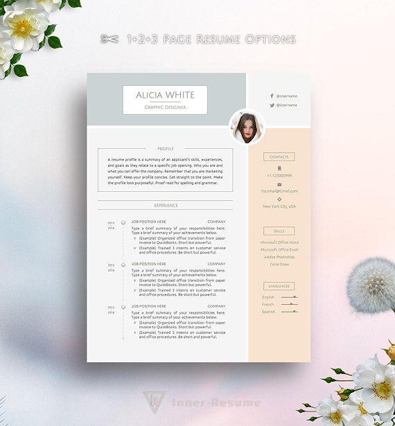 Creative Resume Template for MS Word, Feminine, Elegant, Pink ...
