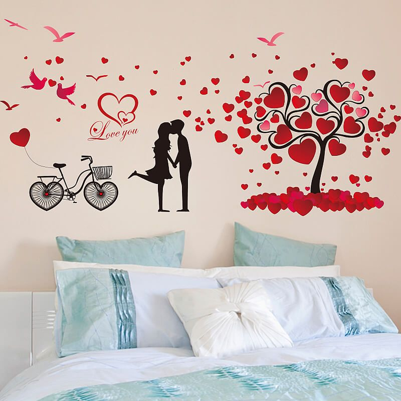 Love Birds Hearts Tree Wall Stickers