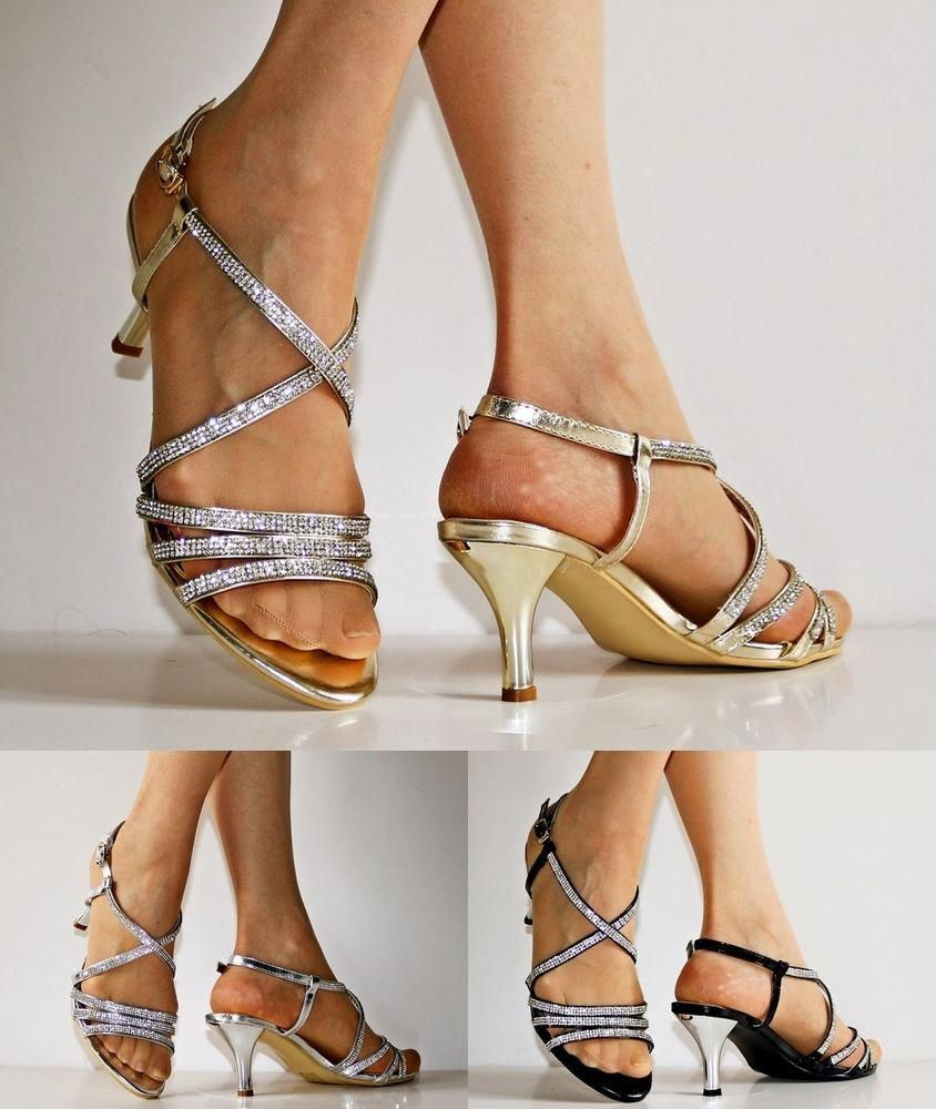 b1d96be46b9 NEW Ladies Party Prom Diamante Ankle Straps Low Kitten Heel Shoes Sandals  30-53 in Clothes