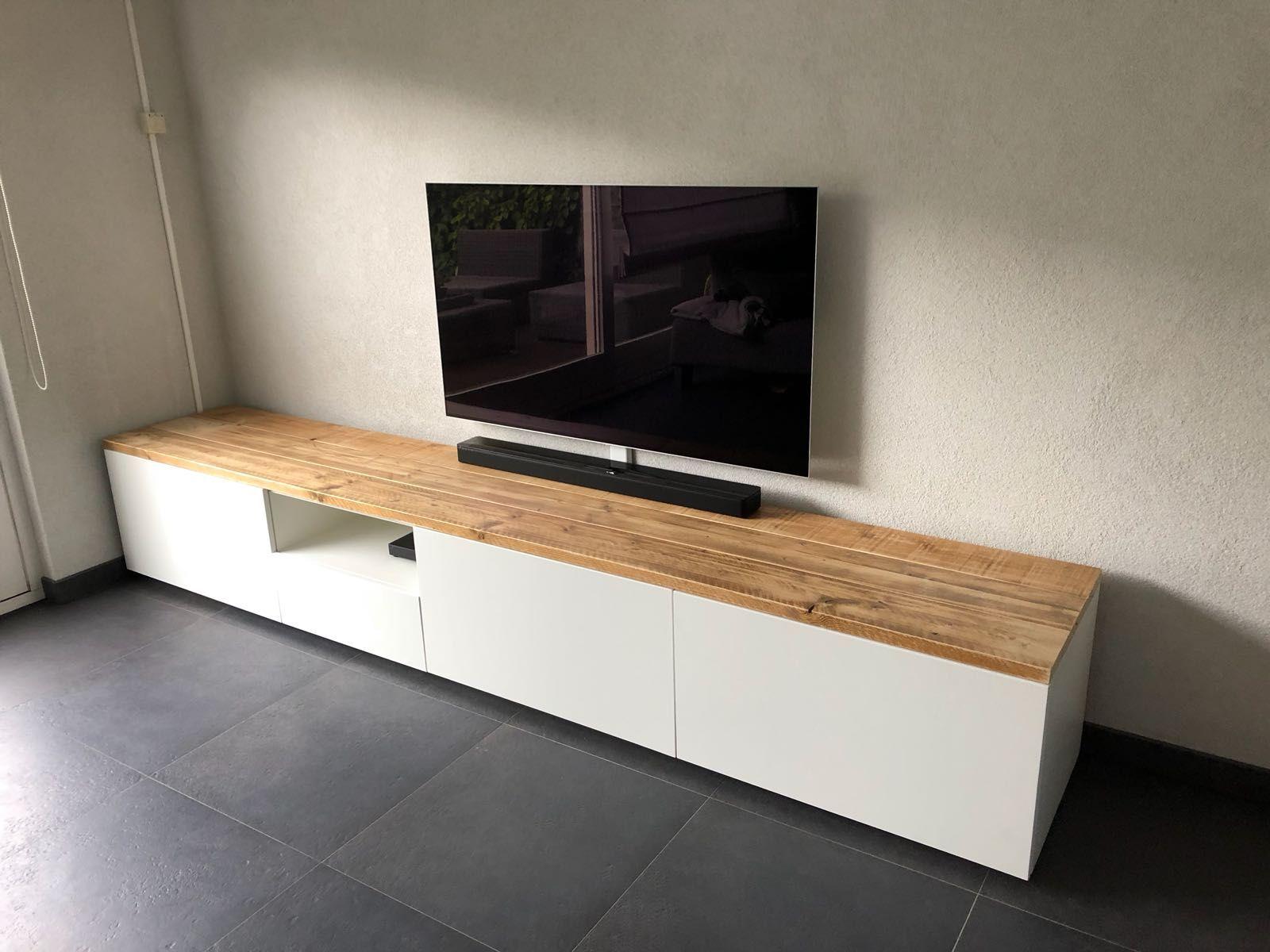 Strak Houten Tv Meubel.Tv Meubel Strak En Modern Met Stoer Hout Op Het Bovenblad Push To