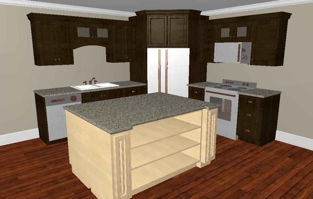 Who says i can 39 t put the refrigerator in the corner have for Corner kitchen designs with island