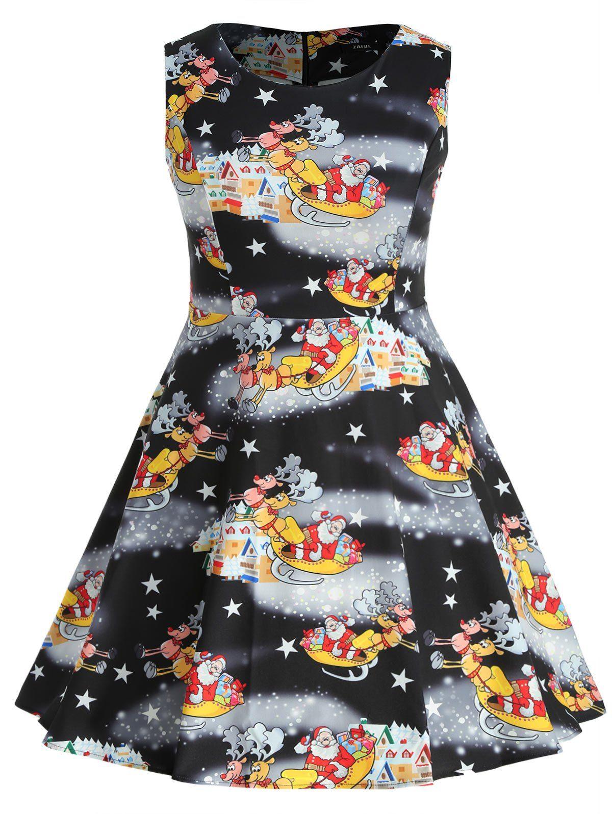 c7efc718df5 Wholesale Plus Size Santa Claus And Elk Print A Line Dress 4x Black Online.  Cheap