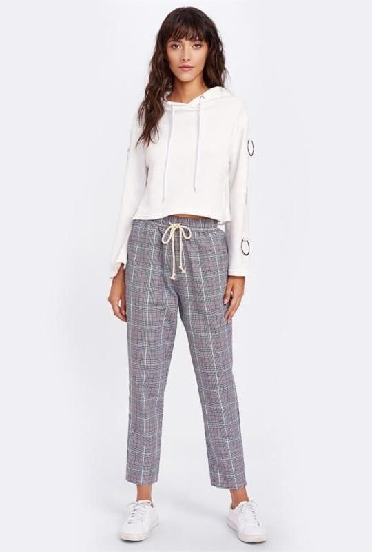 287811a5a Plaid Drawstring Pants Calça Pijama Feminina