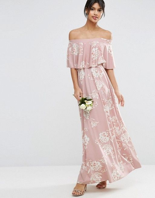 7e2b9d7eb9f WEDDING Off Shoulder Frill Maxi Dress in Print | dream wardrobe ...