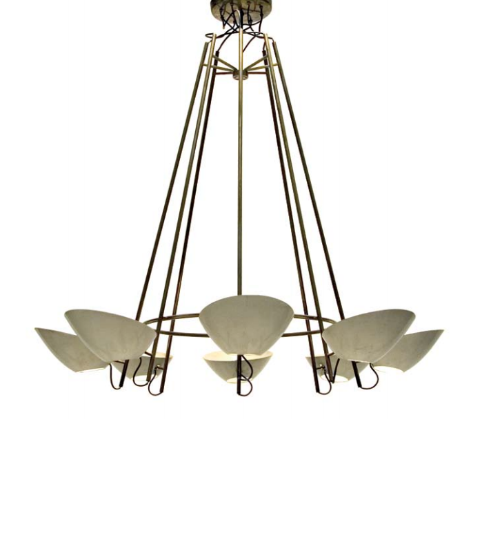 Gino Sarfatti; Brass and Enameled Metal Ceiling Light for Arteluce, 1950s.