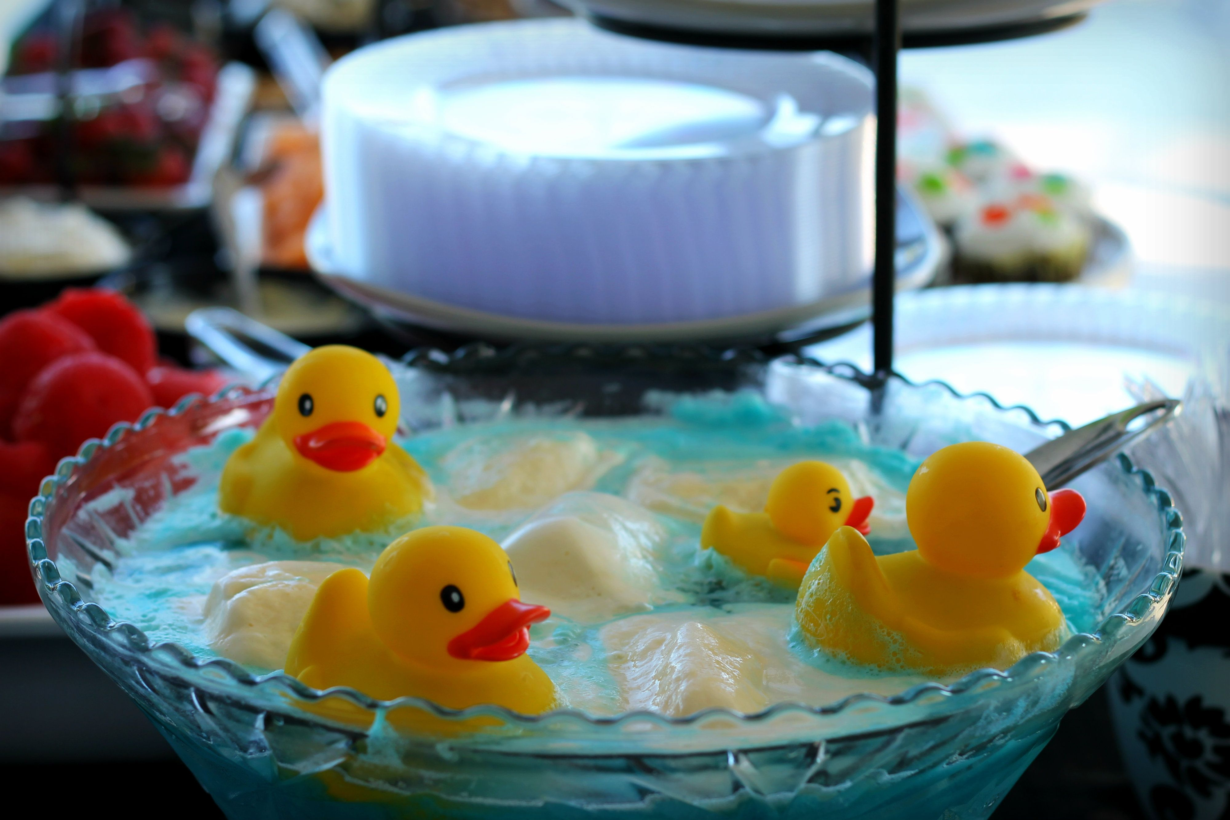 Outdoor Summer Baby Shower Decor Rubber Duck Punch   Blue Hawaiian Punch,  Ginger Ale, And Lemon Sherbet