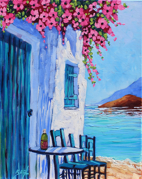 Santorini Blue & White Giclee Canvas Print Greece Colorful cafe flowers Signed seascape by Rebecca Beal