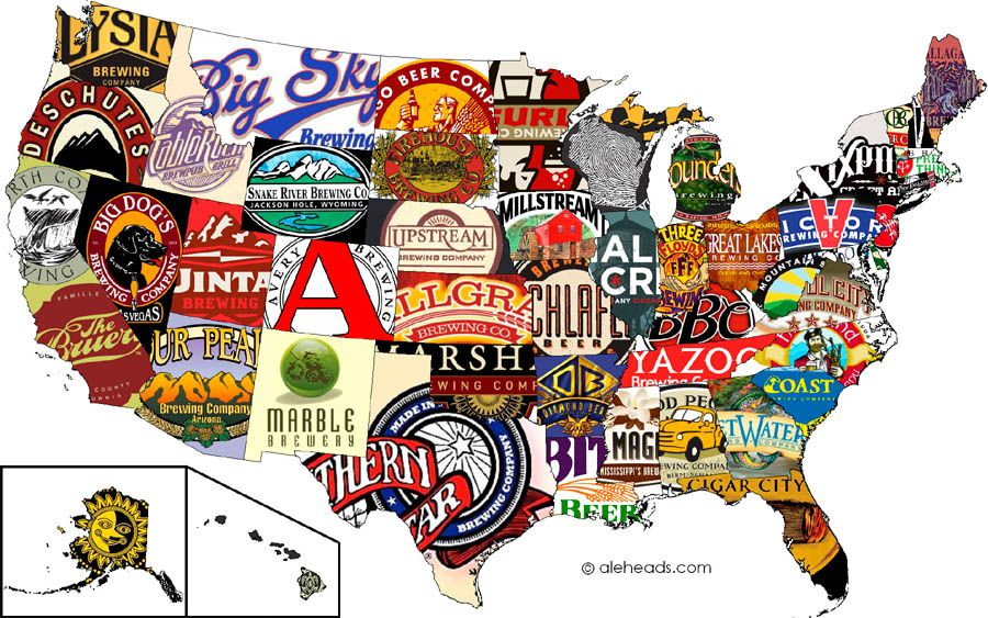 The US defined by beer brands obsessed with maps Pinterest