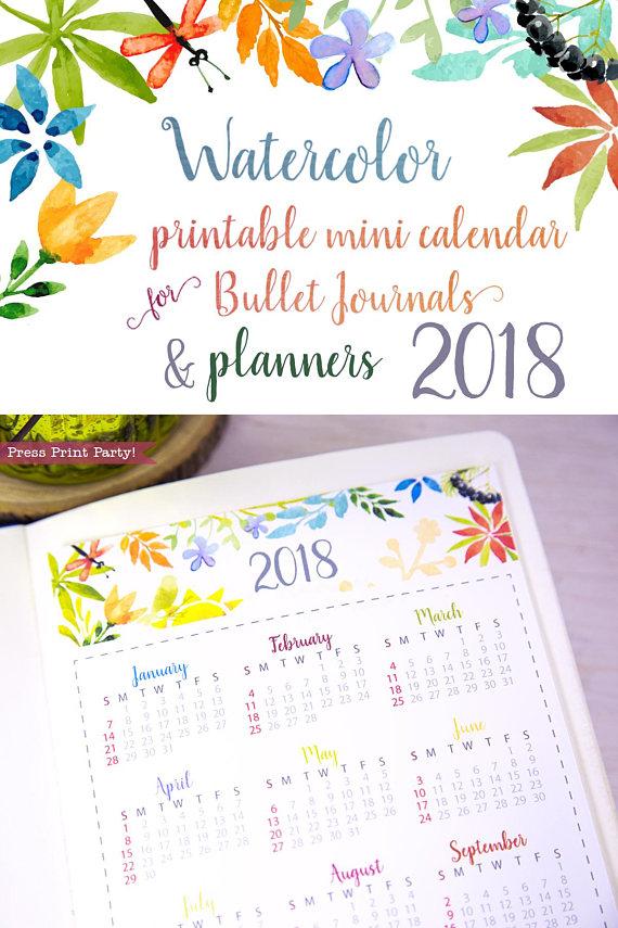 2018 Mini Calendar for Bullet Journals \ Planners Printable - printable yearly calendar