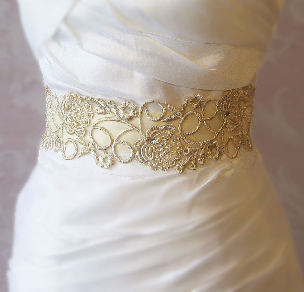 Gold belt for wedding dress  Champagne Gold Lace Bridal Sash Wedding Gown by TheRedMagnolia
