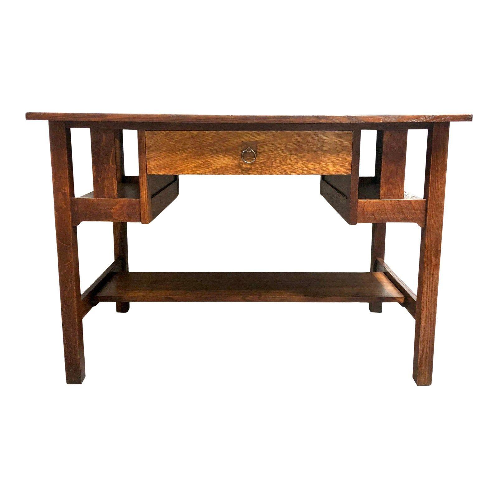 Arts Crafts Quarter Sawn Oak Desk By Stickley Brothers Chairish Oak Desk Desk Oak