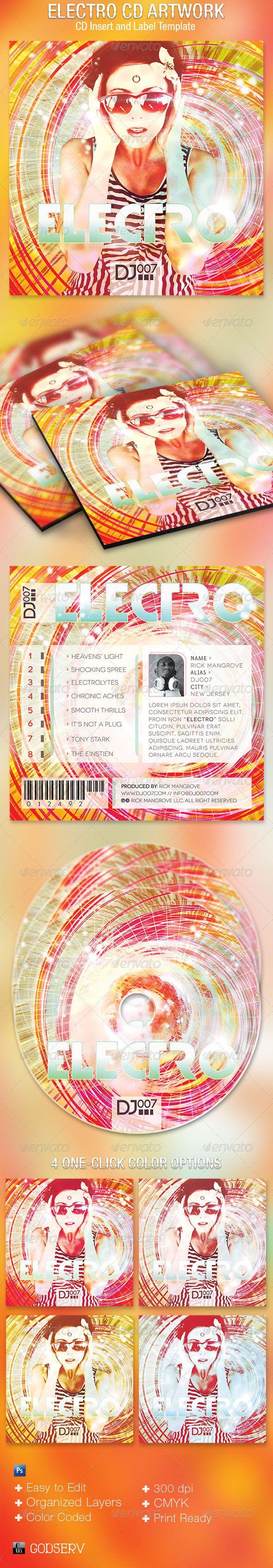 Electro CD Artwork Template | Kunstwerke, Audio-Bücher und Techno