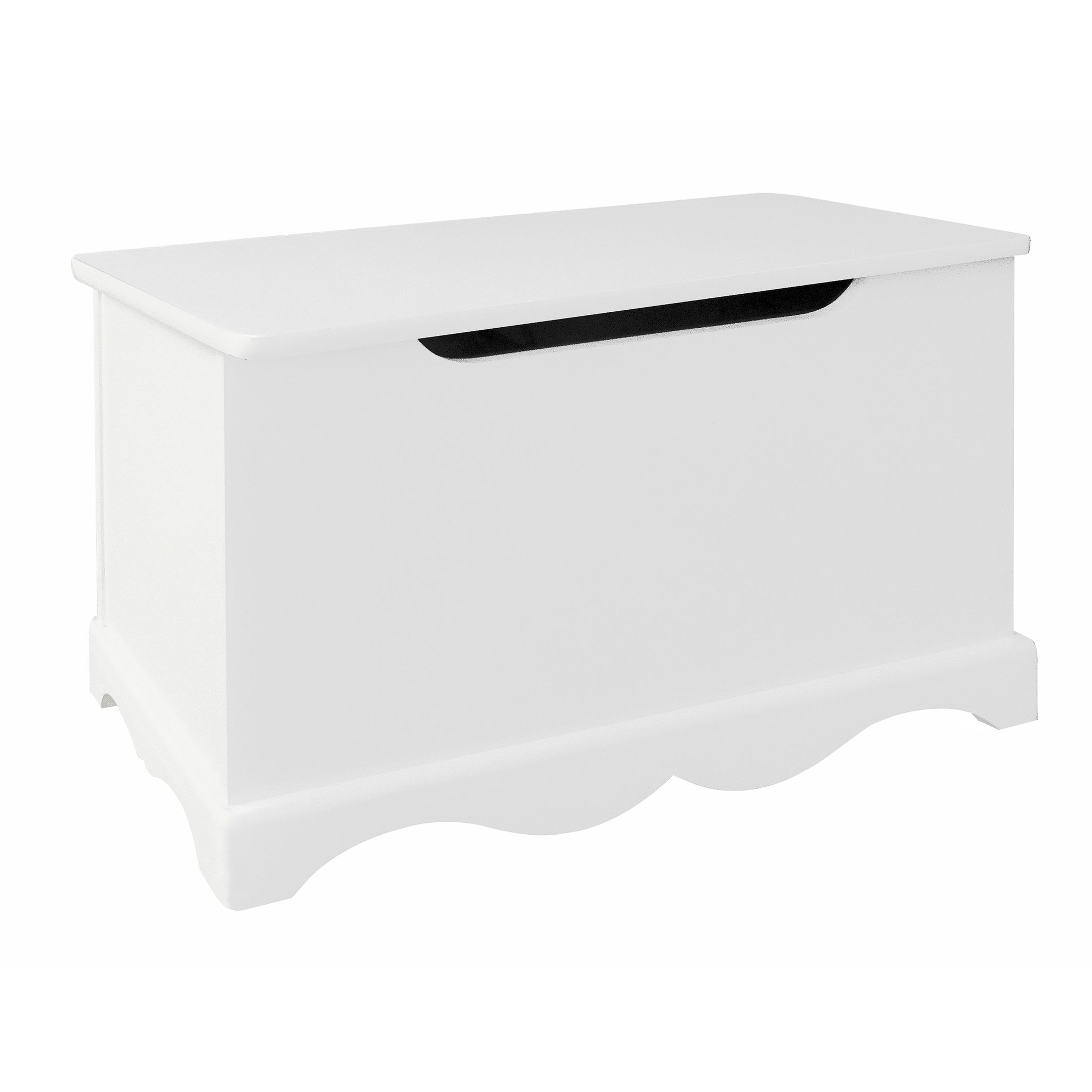 This small white wooden toy box is the perfect storage space for