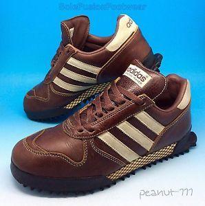 Adidas Originali Uomo Maratona Formatori Sz Si 7 Di Pelle Marrone Si Sz Ripropone Di 40 2 653061