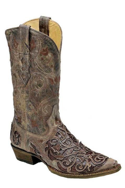 743024f98cf Corral Boots Men's Tobacco Caiman Croc Inlay Cowboy Boots | Men's ...