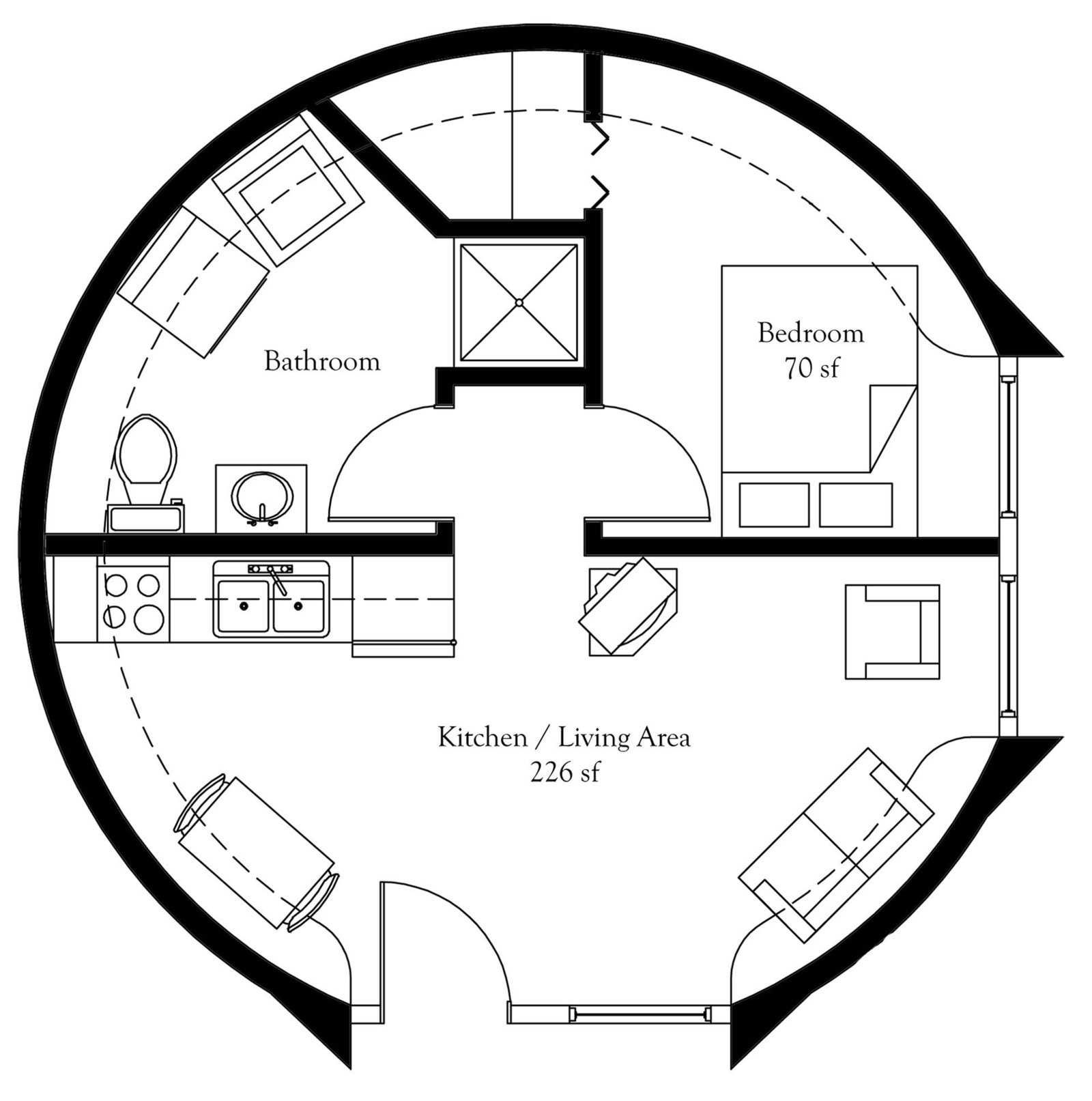 Plan Number Dl Floor Area 452 Square Feet Diameter