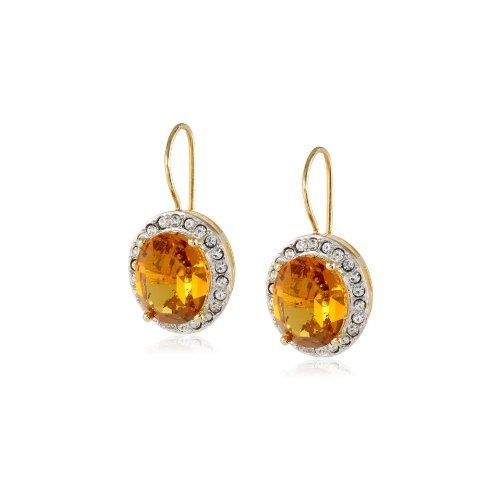 Sterling Silver Plated Topaz Crystal and Clear Crystal Oval Dangle Earrings - $31.2