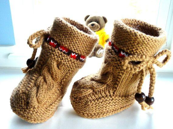 P A T T E R N botines del bebé del bebé zapatos del modelo de punto botines del bebé del bebé del patrón botín bebé UGG Boots Patrones de bebé (archivo PDF)
