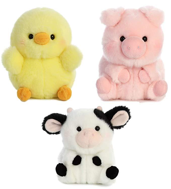 Amazon Com Aurora World Pig Cow And Chicken Stuffed Animal Plush