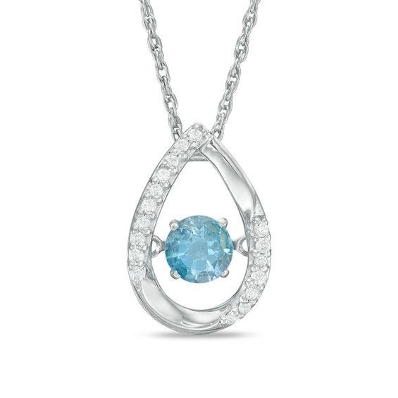 Diamond Accent Tear drop Pendant in Sterling Silver