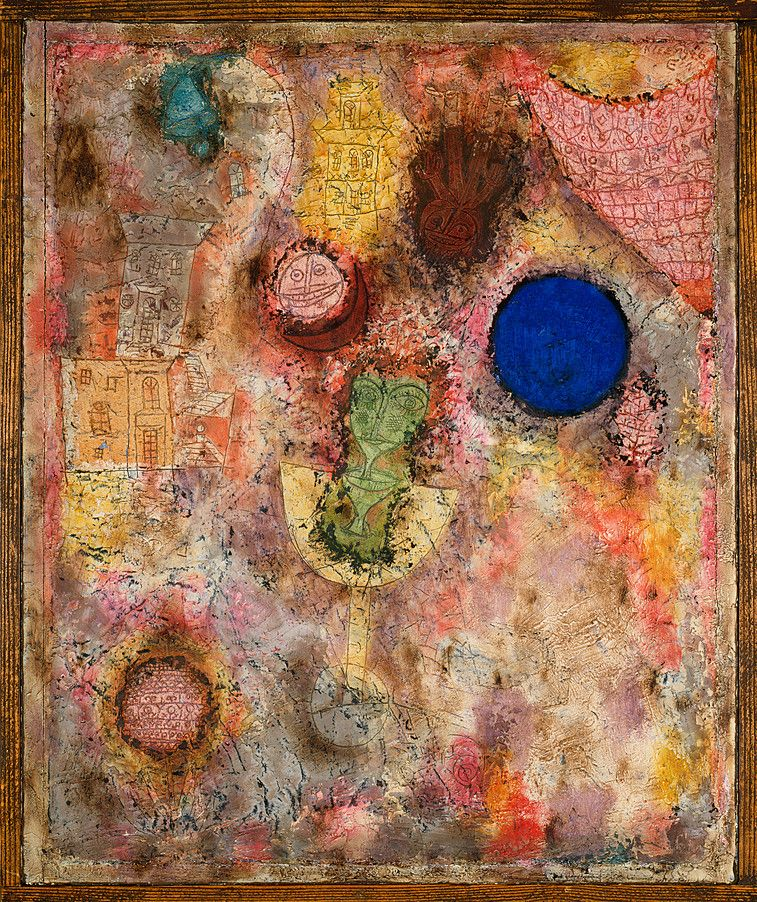 """Magic Garden (Zaubergarten),"" March 1926, Paul Klee. Oil on plaster-filled wire mesh in artist's frame; 20½ x 16⅝ inches (52.1 x 42.2 cm). The Solomon R. Guggenheim Foundation. Peggy Guggenheim Collection, Venice, 1976."