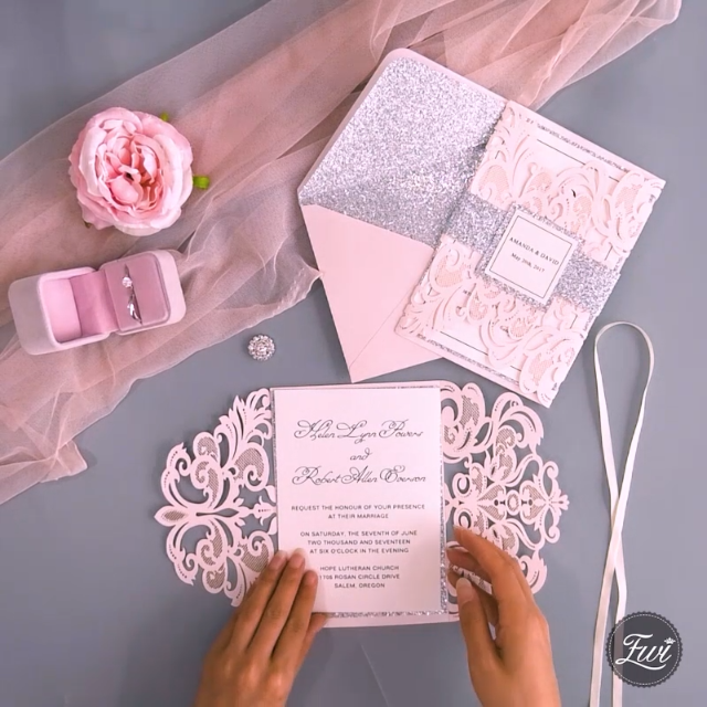 Blush pink glitter laser cut wedding invitation DIY inspiration #EWI