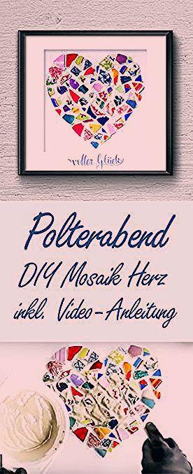 Photo of Polterabend Geschenk DIY Idee Mosaik Scherben Herz