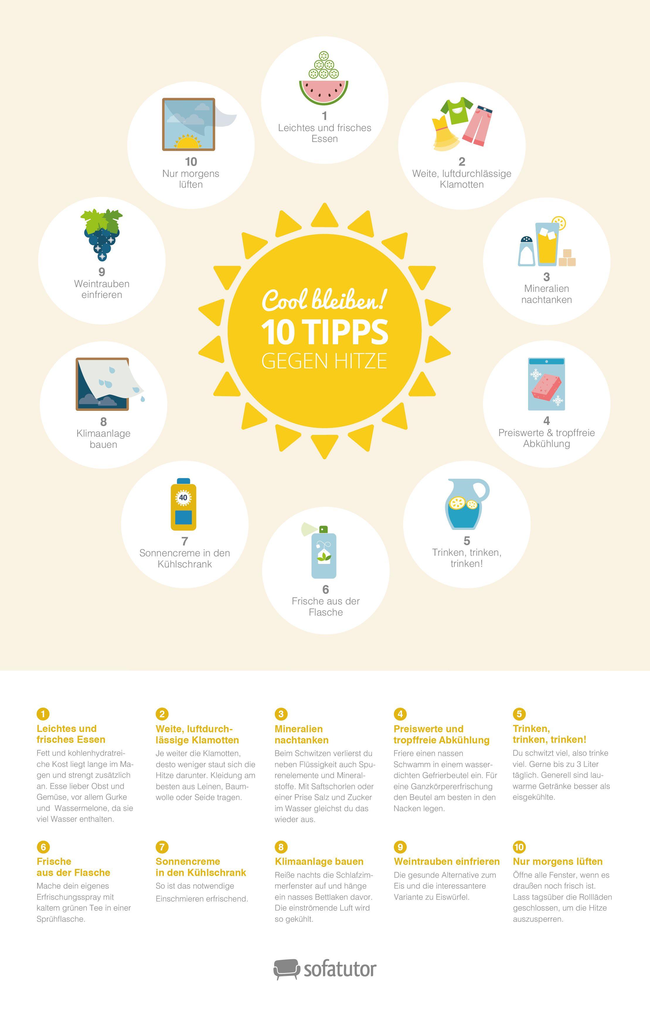 10 Tipps gegen die Hitze! Infografik mit Tipps gegens Schwitzen ...