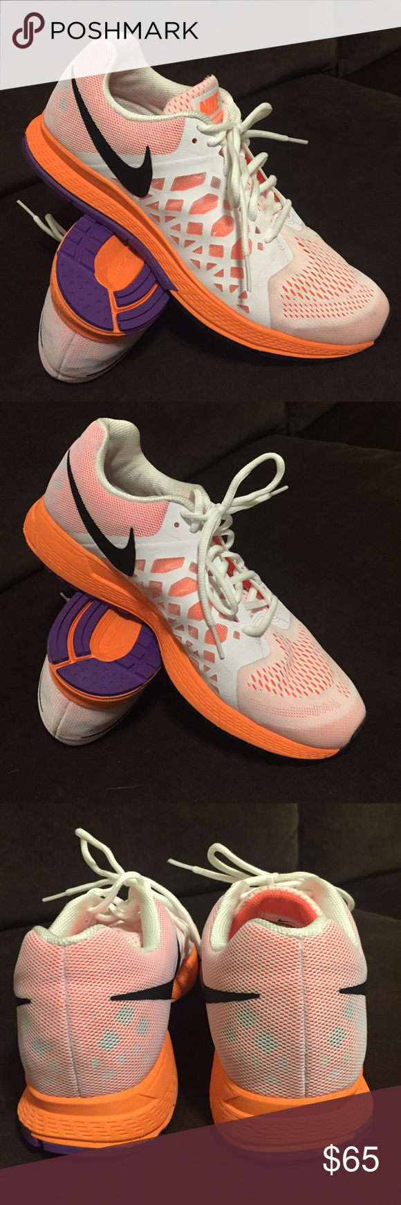 info for 59fd1 f3626 Mike air zoom Pegasus 31 white hyper orange 11 43 Women s Nike air zoom  Pegasus 31 I. White with orange and purple trim. Excellent low use  condition Nike ...