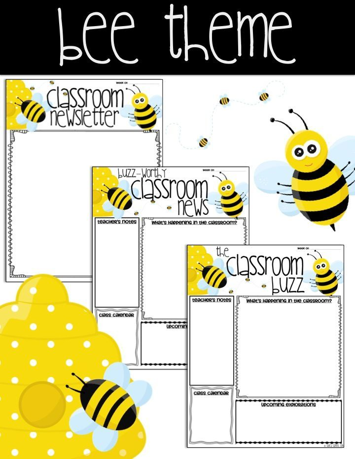 Editable Classroom Newsletter Templates  Bee Theme  Templates To