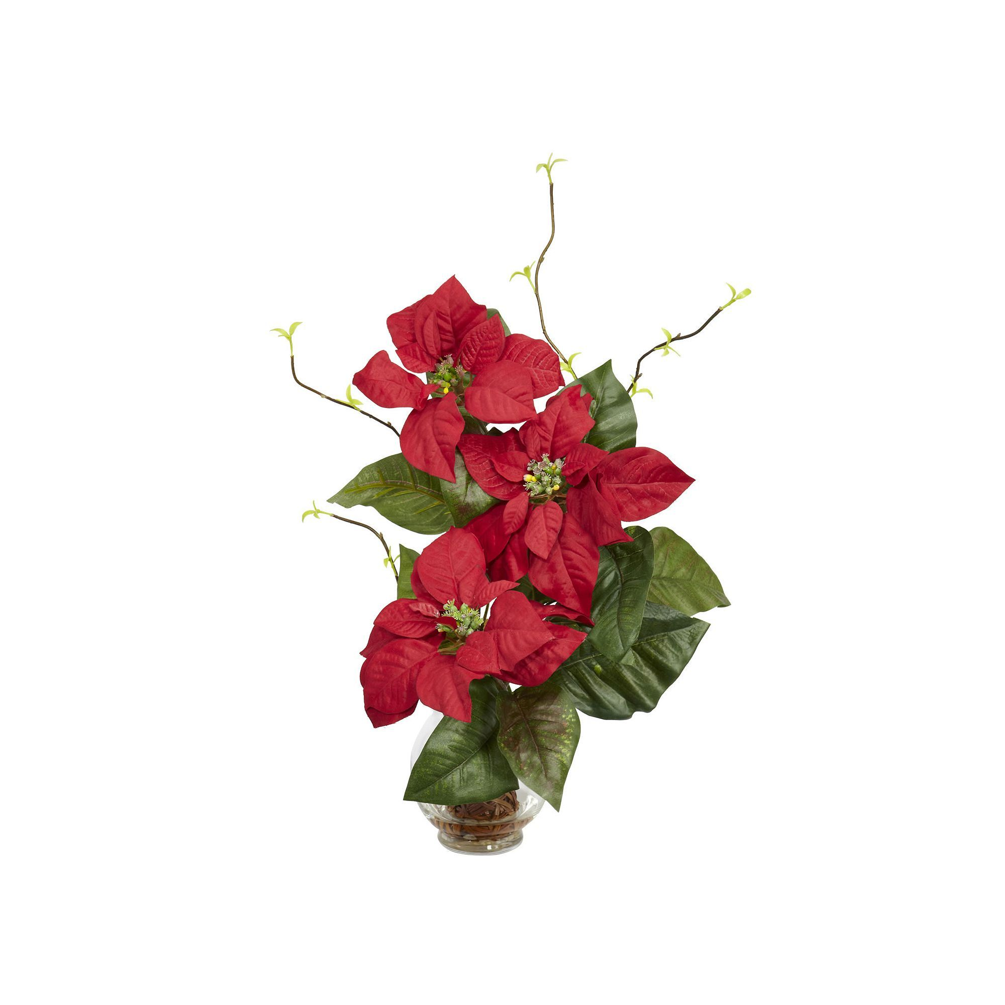 Nearly Natural Silk Poinsettia Branch Floral Arrangement Products