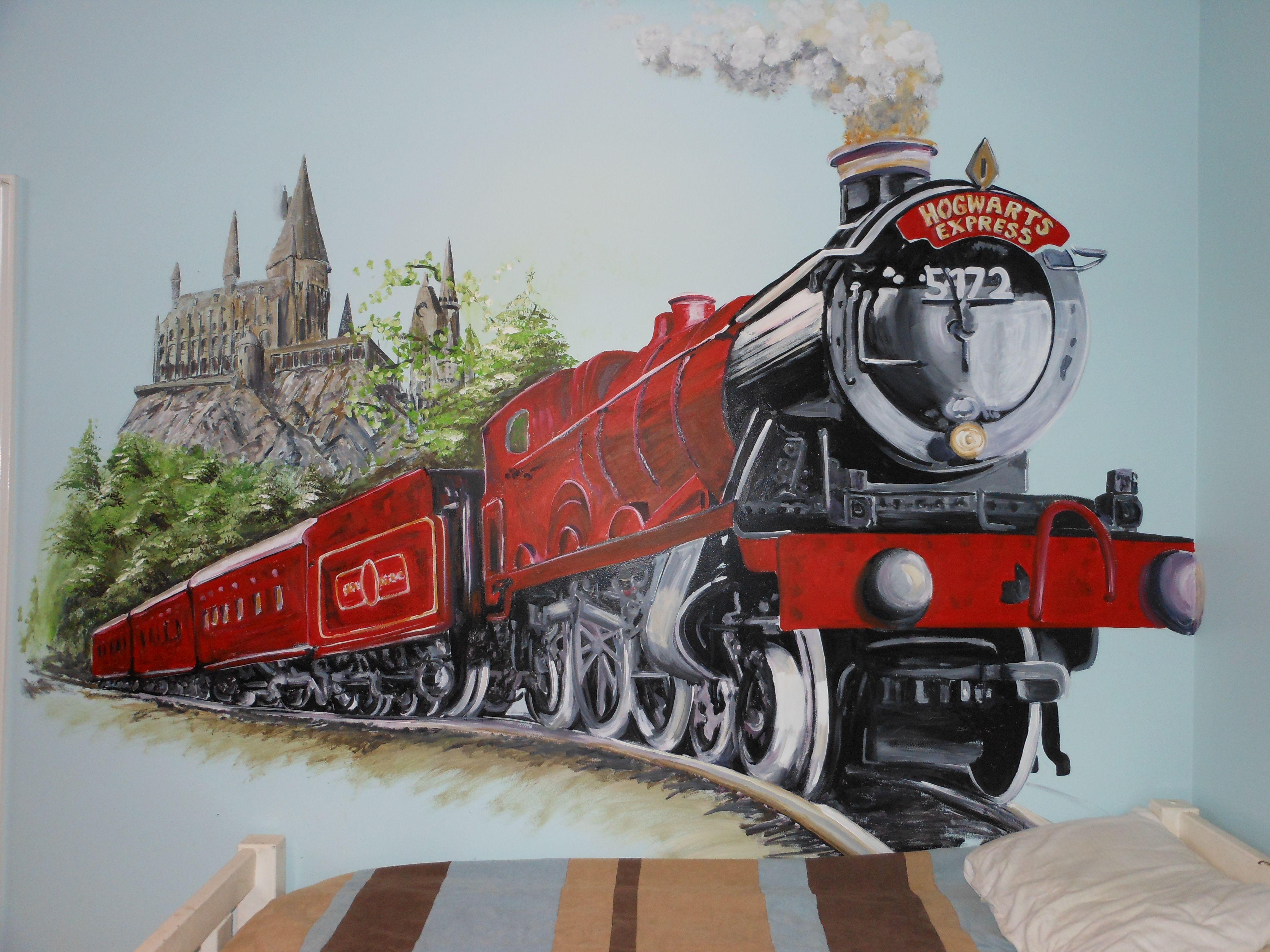 Hogwarts Express Mural Harry Potter Art Drawings Hogwarts Train Train Drawing