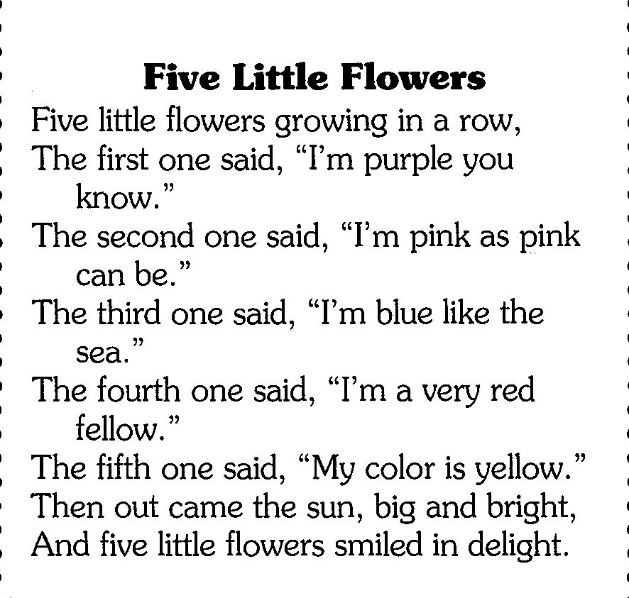 'Five Little Flowers Wee poem for May Day or Spring